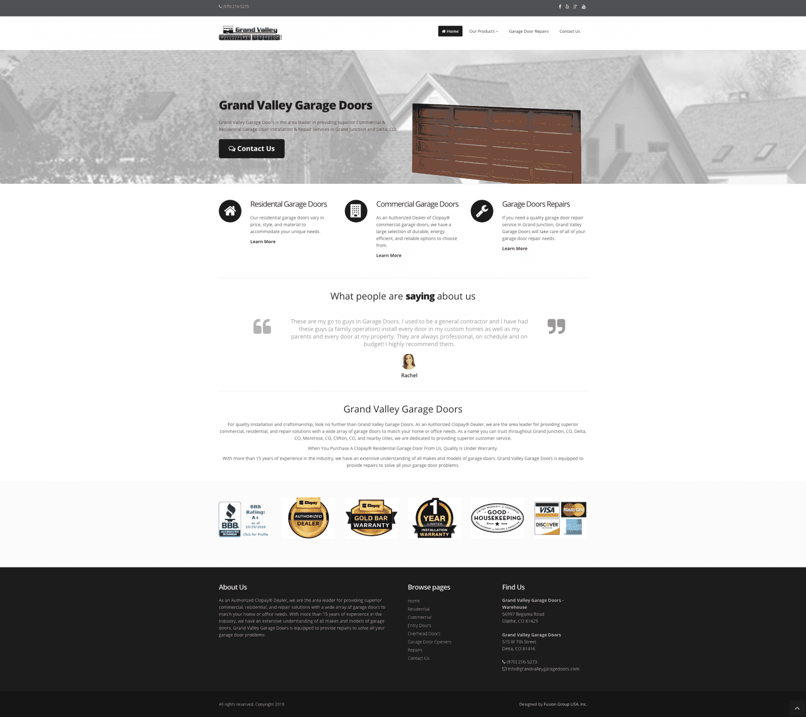 Garage Door Website Design