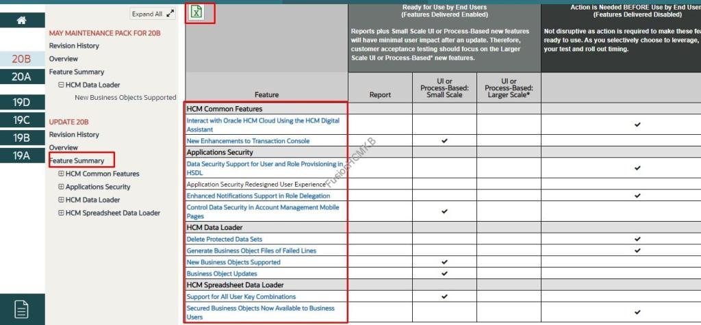 List of features in 20B fusion hcm hcm data loader business objects protective data sets