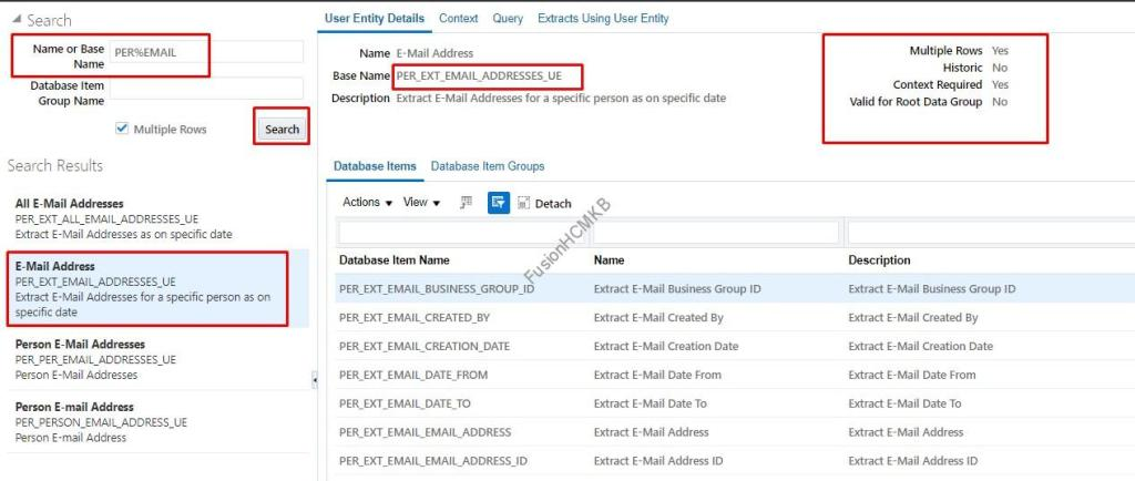 Email Address user entity in fusion hcm for hcm extract child user entity data group