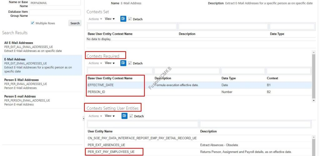 Contexts required for user entities in fusion hcm for hcm extracts oracle hcm cloud