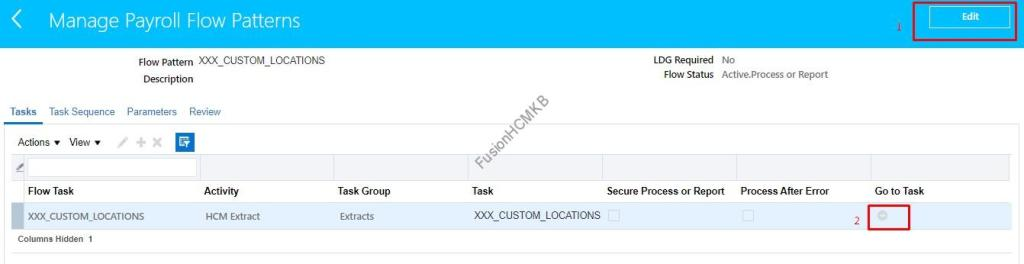 Click on Edit Flow pattern to modify the owner for hcm extracts in oracle hcm cloud fusion hcm