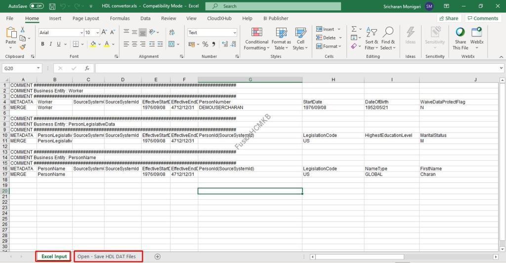 Excel to HDL Convertor for HCM Data Loader in Fusion HCM HDL loader