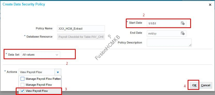 Data Security policy Creation in fusion hcm to add the data security