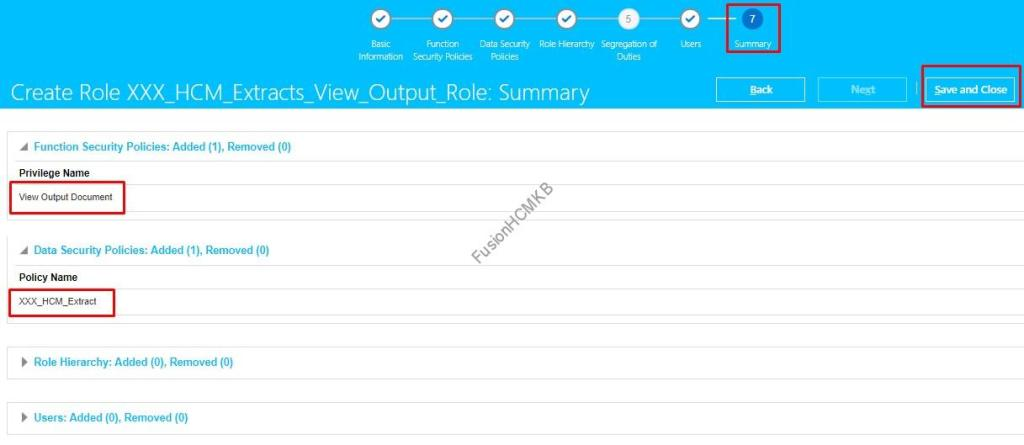 Review the Summary details and save the role to add privileges to role in fusion hcm