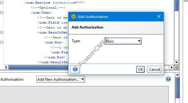 Authorization type Basic for SOAP services in Fusion HCM Oracle HCM Cloud