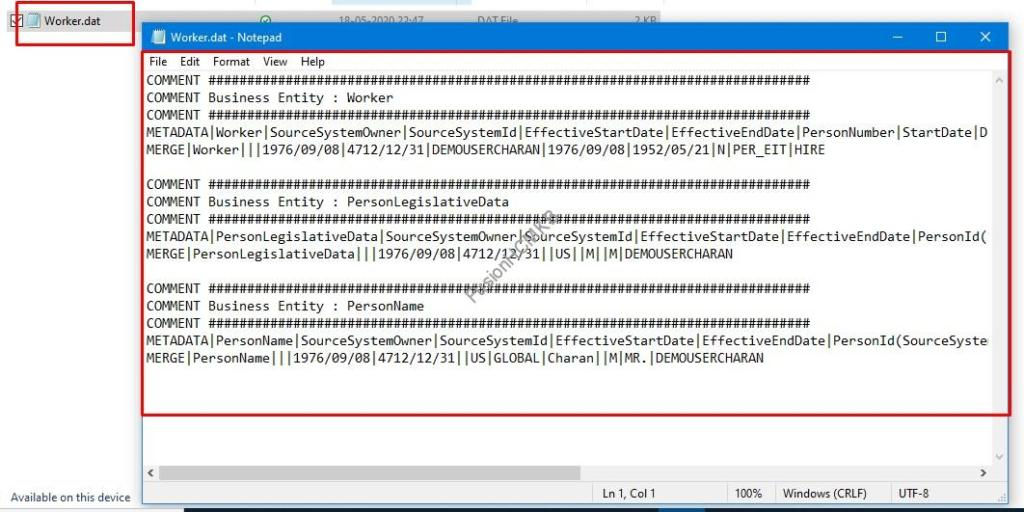 Opening the DAT file the macro has generated in hcm data loader fusion hcm