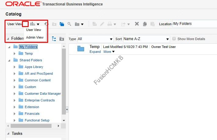 BI Admin view in BI Catalog in fusion hcm to solve folder permissions issues.