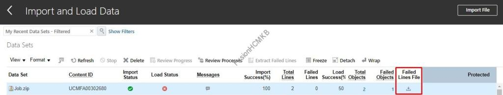 download the errored hdl failed lines in fusion hcm for hcm data loader