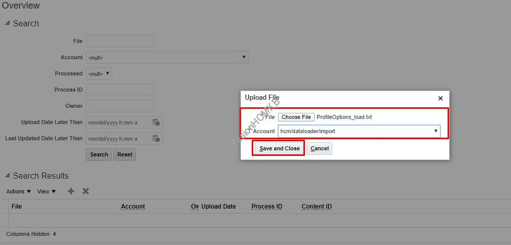 Upload the input file to UCM
