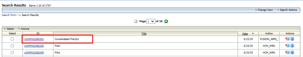 Consolidated file is uploaded to UCM upon successful completion