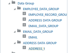 Hierarchy of the Data Groups and Records for the initial XML file
