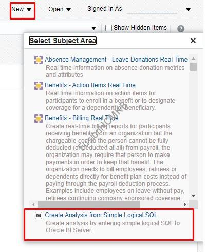 Click on Create Analysis from Simple Logical SQL Option in fusion hcm