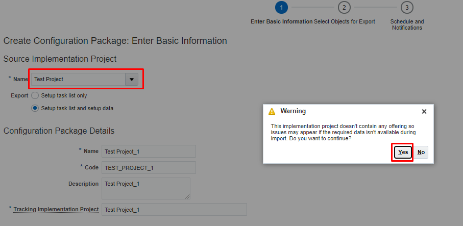 Select the Test Project and click Yes on Warning