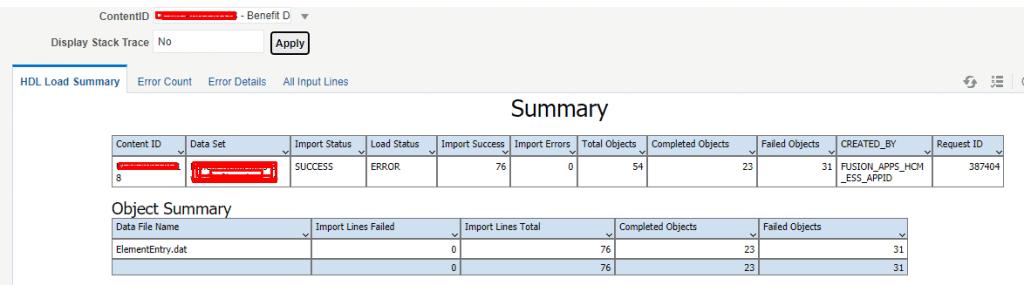 hdl load summary