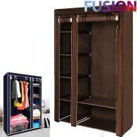 Double Fabric Canvas Clothes Storage Organiser Wardrobe ...