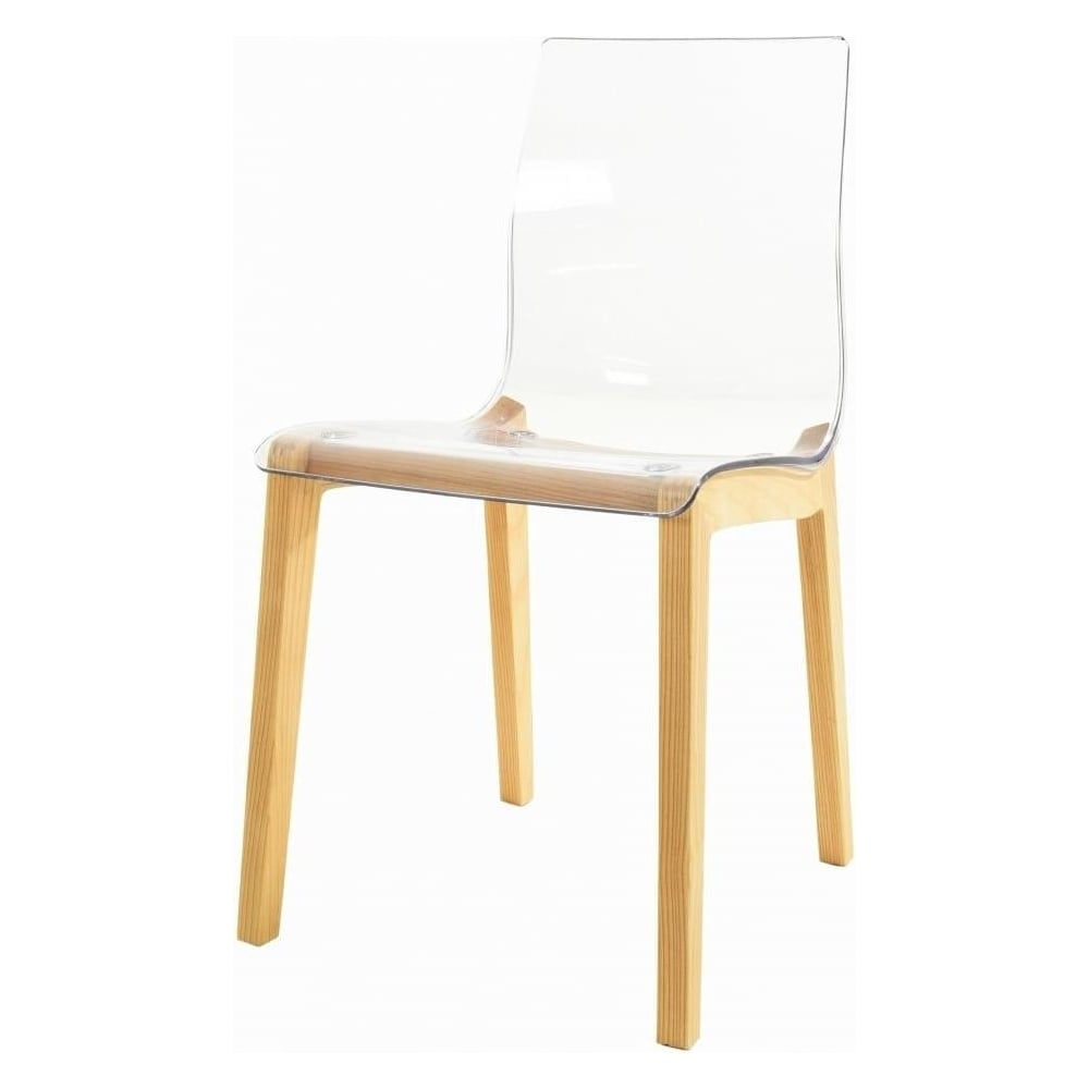 Plastic Clear Chair Fusion Living Crystal Clear Plastic Dining Chair With Light Wood Legs