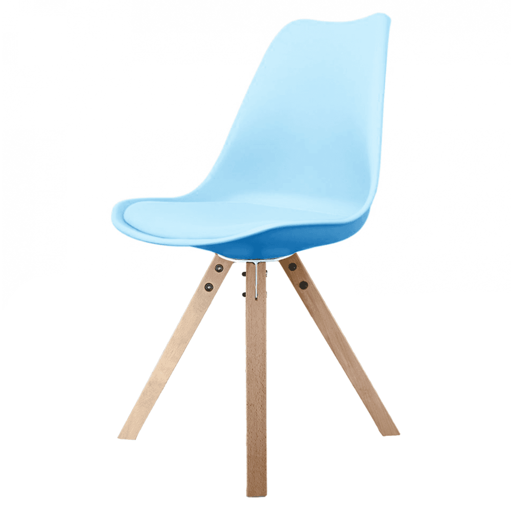 Blue Dining Chairs Fusion Living Eiffel Inspired Blue Dining Chair With Square Pyramid Light Wood Legs