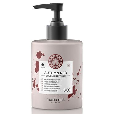 Maria Nila colour refresh bottle with pump. Autumn Red hair colour. Vegan and cruelty free
