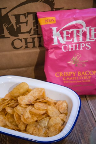 New crispy bacon and maple syrup flavoured Kettle Chips