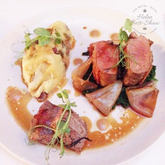 Saddle Lamb, olive mash, kale and garlic at Bistro by Shot