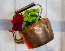 Copper flower filled kettle