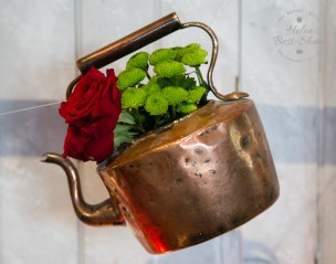 Copper flower filled kettle