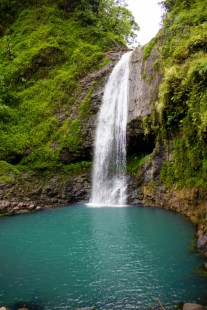 Swimming pool with waterfall in the centre of Tahiti