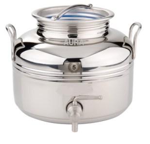 FUT INOX 5 litres Livré complet avec trépied, joint et robinet 1/4 de tour