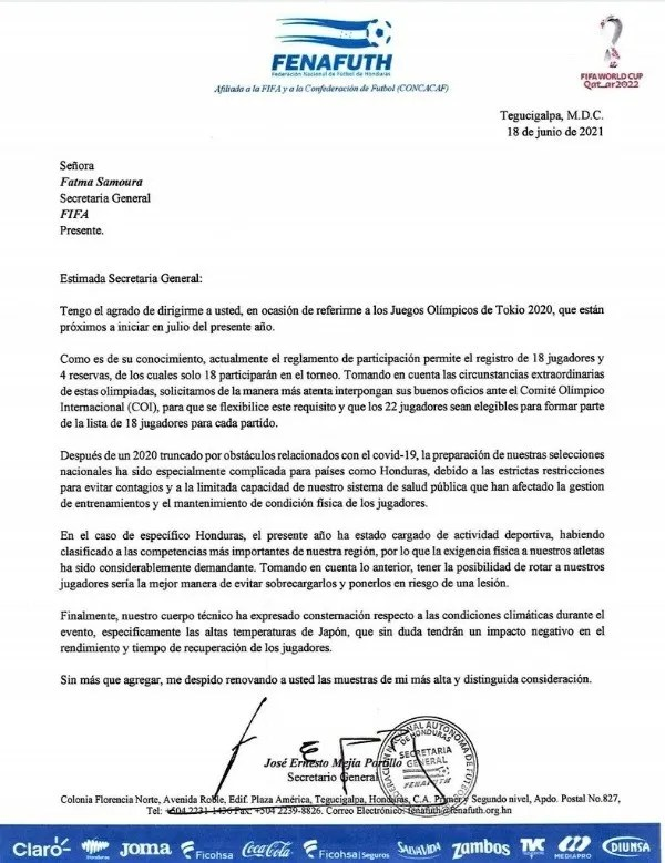 La carta enviada por Fenafuth a la FIFA