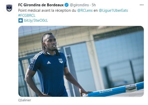 Girondins de Burdeos comparten el parte médico de Alberth Elis