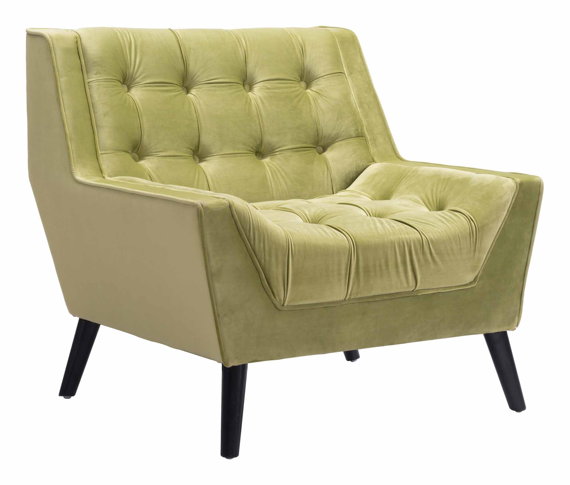 green velvet tufted chair mesh outdoor chairs nantucket arm by zuo modern