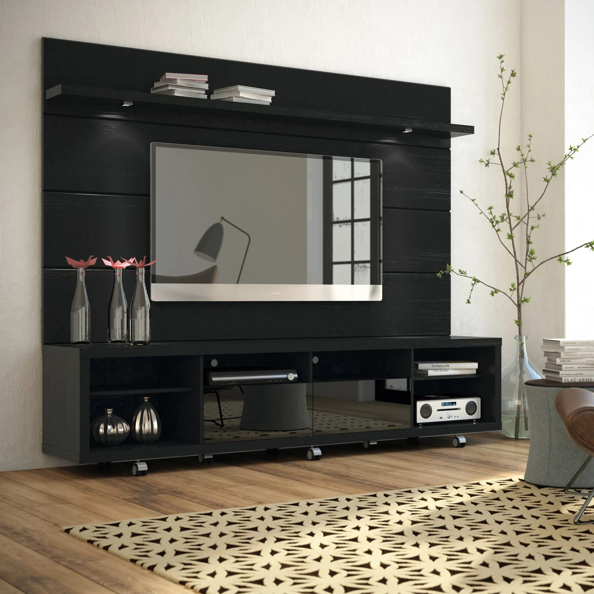 Cabrini Black TV Stand  Floating Wall TV Panel w22 LED