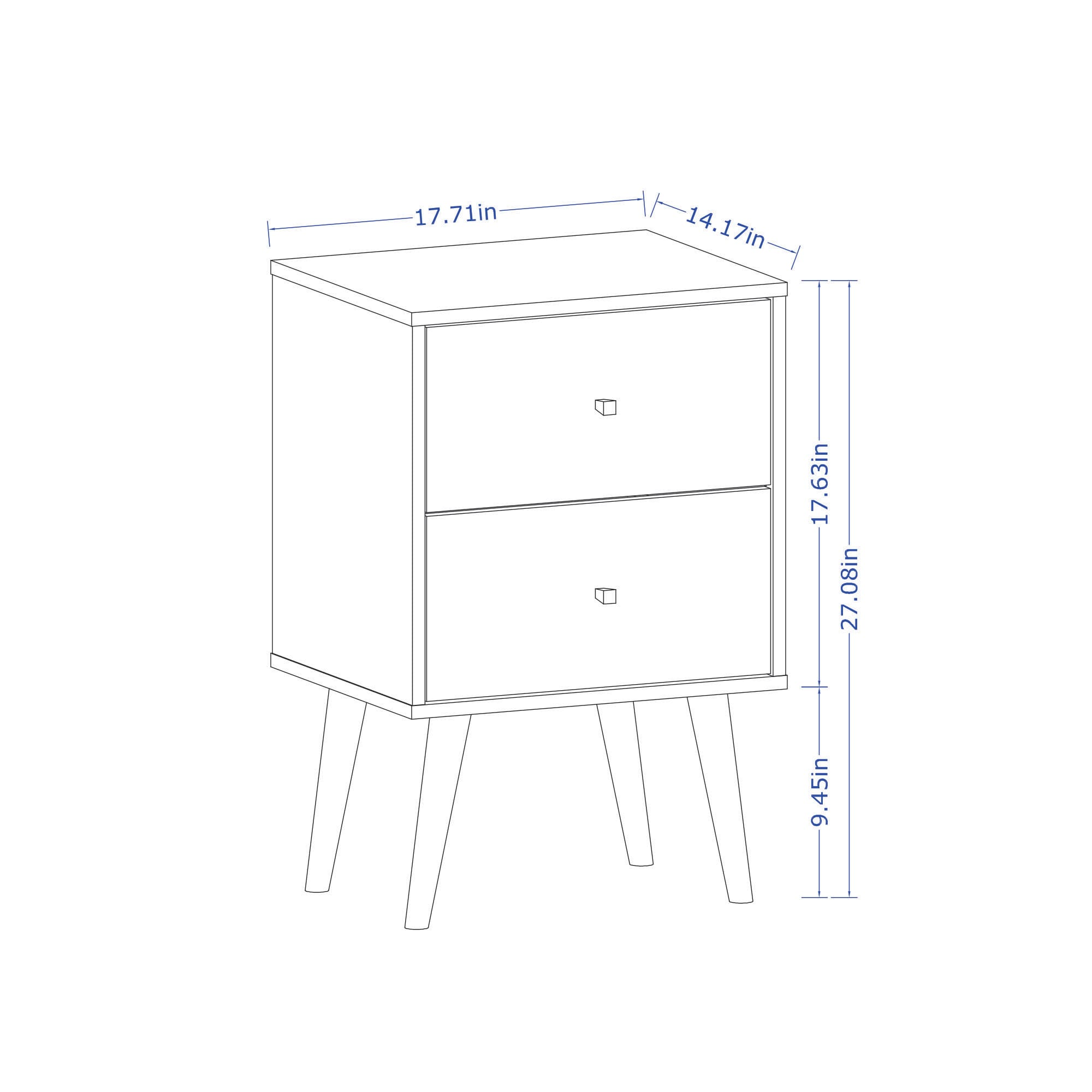 Liberty White Mid Century Modern Nightstand 2 0 W 2 Full Extension Drawers Solid Wood Legs By Manhattan Comfort