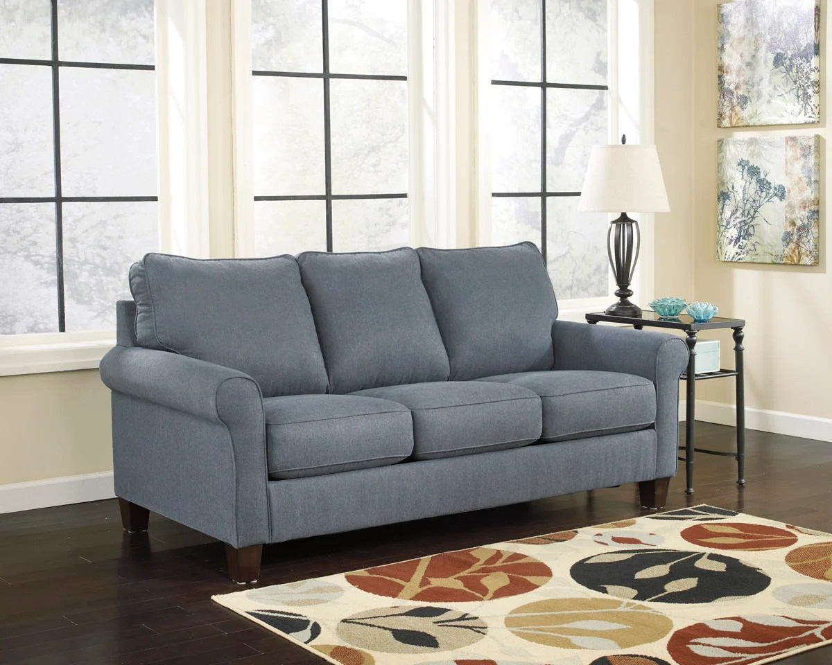 recliner sectional sleeper sofa corner zeth denim queen signature design by ashley