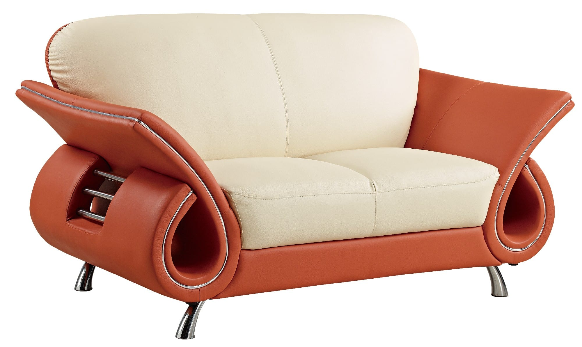 lucas beige orange leather sofa set microfiber versus sofas u559 loveseat by global furniture