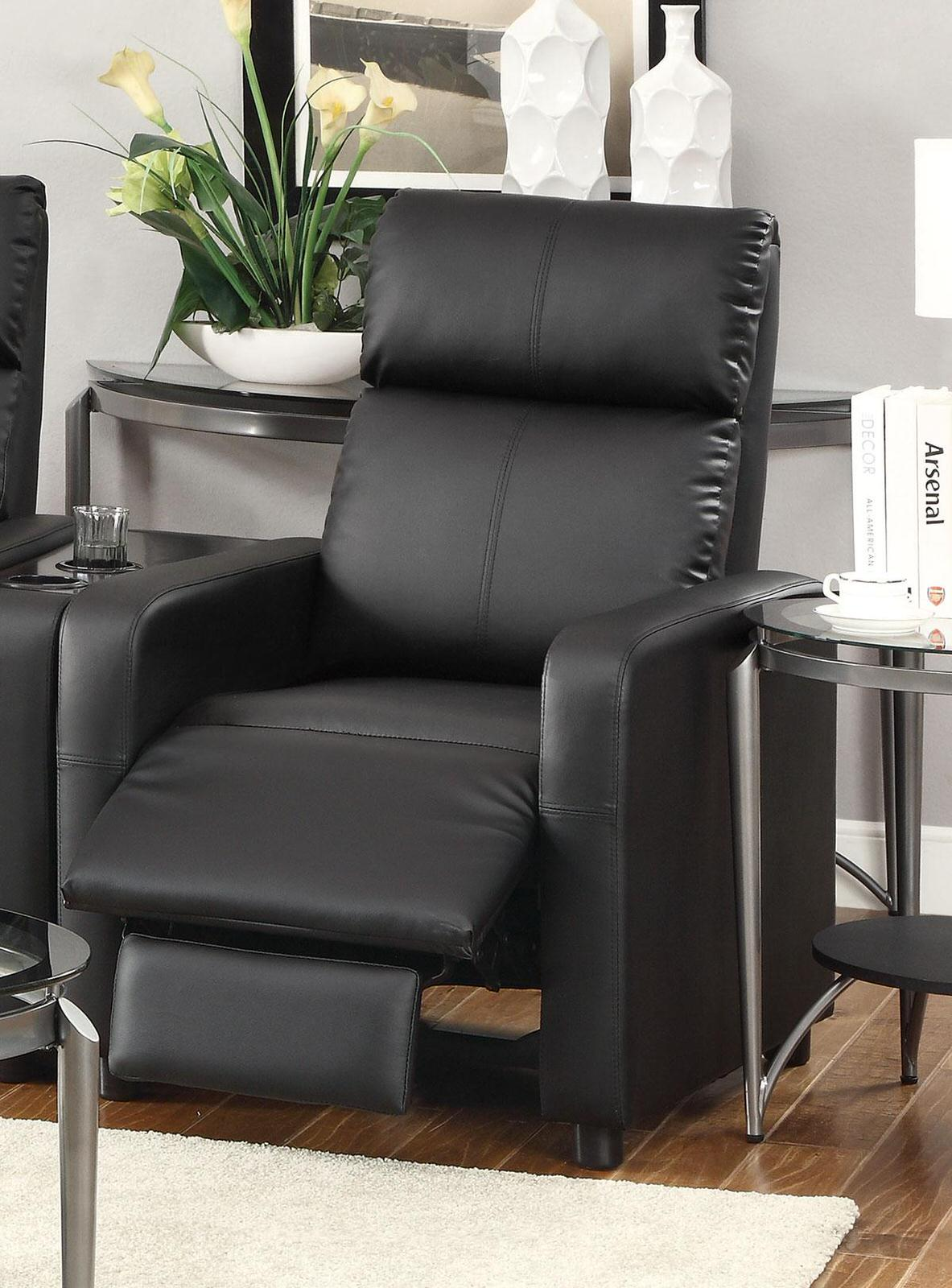 Modern Recliner Chairs 600181 Push Back Chair Recliner Black Vinyl By Coaster