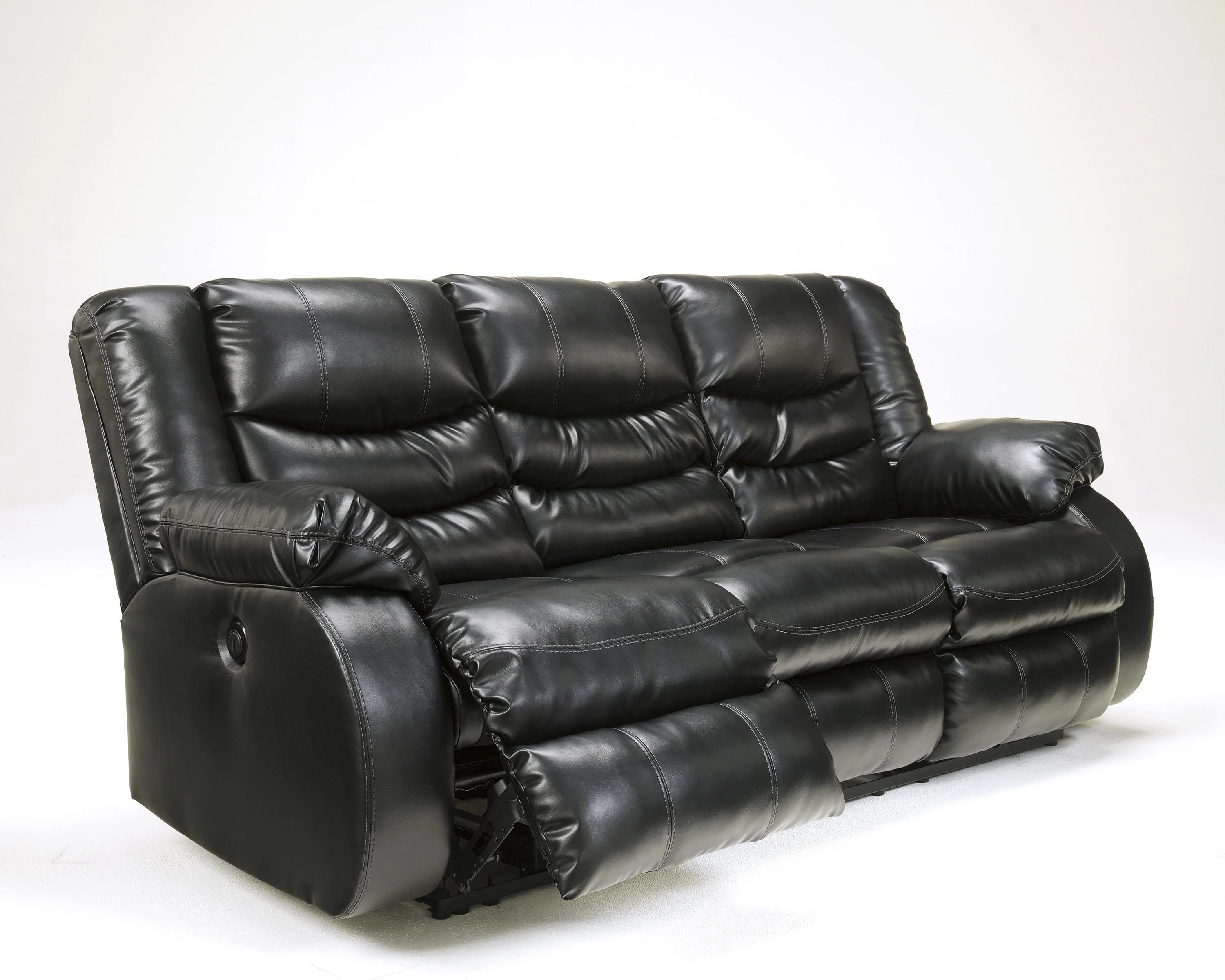recliner sofa leather black mid century modern white reclining by ashley furniture