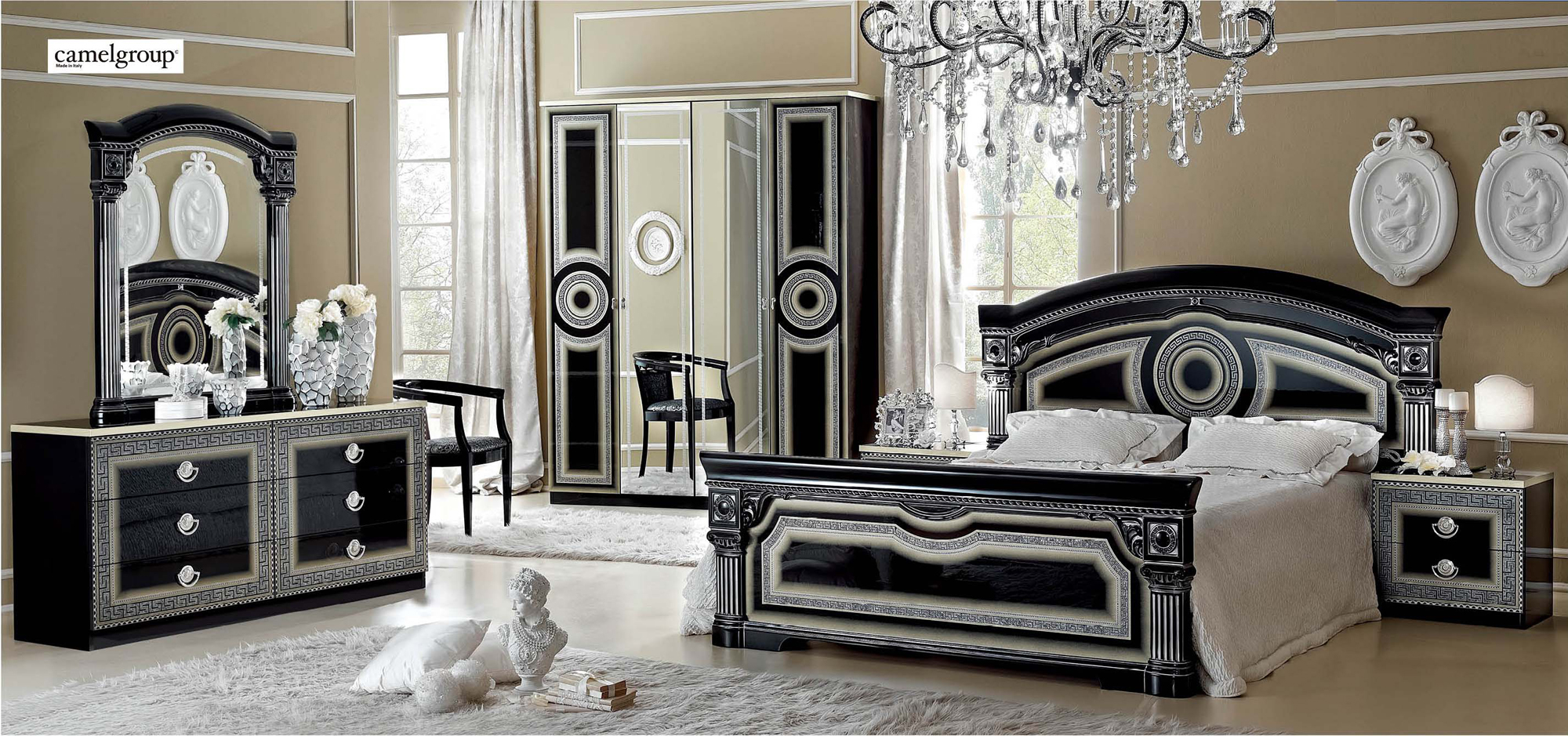 camel and gray living room ways to decorate your apartment aida black with silver bedroom set by esf