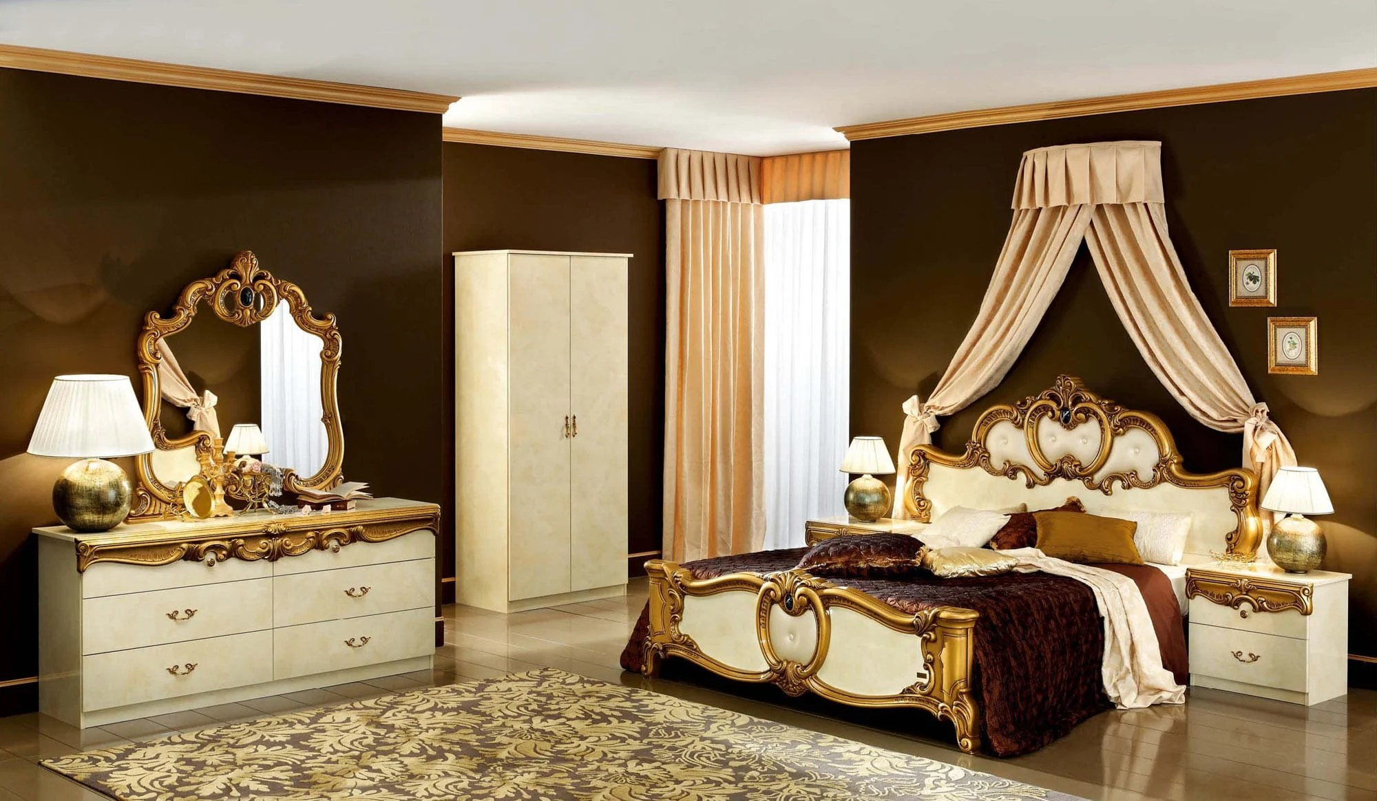 barocco ivory gold bedroom set by esf