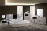Bianca Grey Glossy & Black Glossy Bedroom Set by Global ...