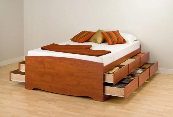 Queen Tall Platform Storage Bed 12 Drawers Prepac