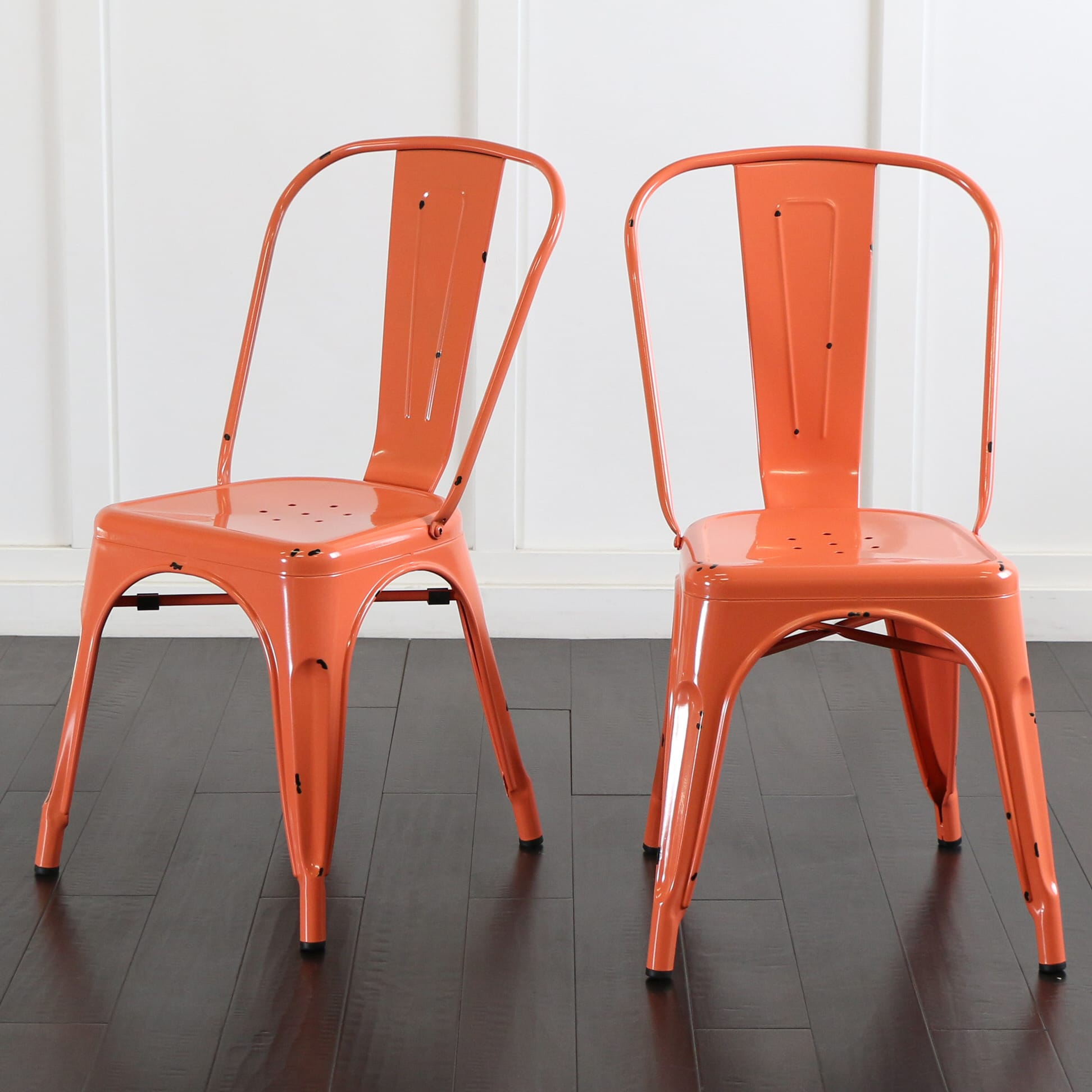 orange cafe chairs desk chair no arms metal clementine by walker edison