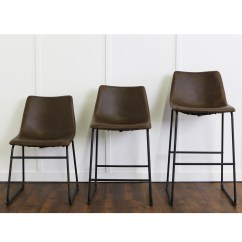 Faux Leather Dining Chairs Armless Chair Slipcover Brown Set Of 2 By Walker Edison