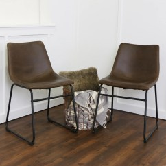 Faux Leather Dining Chairs Parsons Chair Covers Sale Brown Set Of 2 By Walker Edison