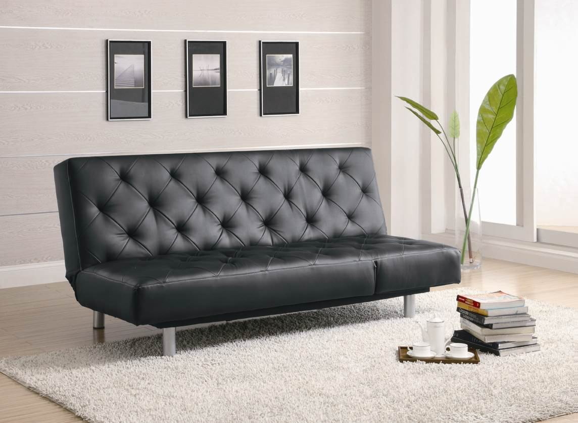 coasters sofa bed high density foam 300304 in black by coaster