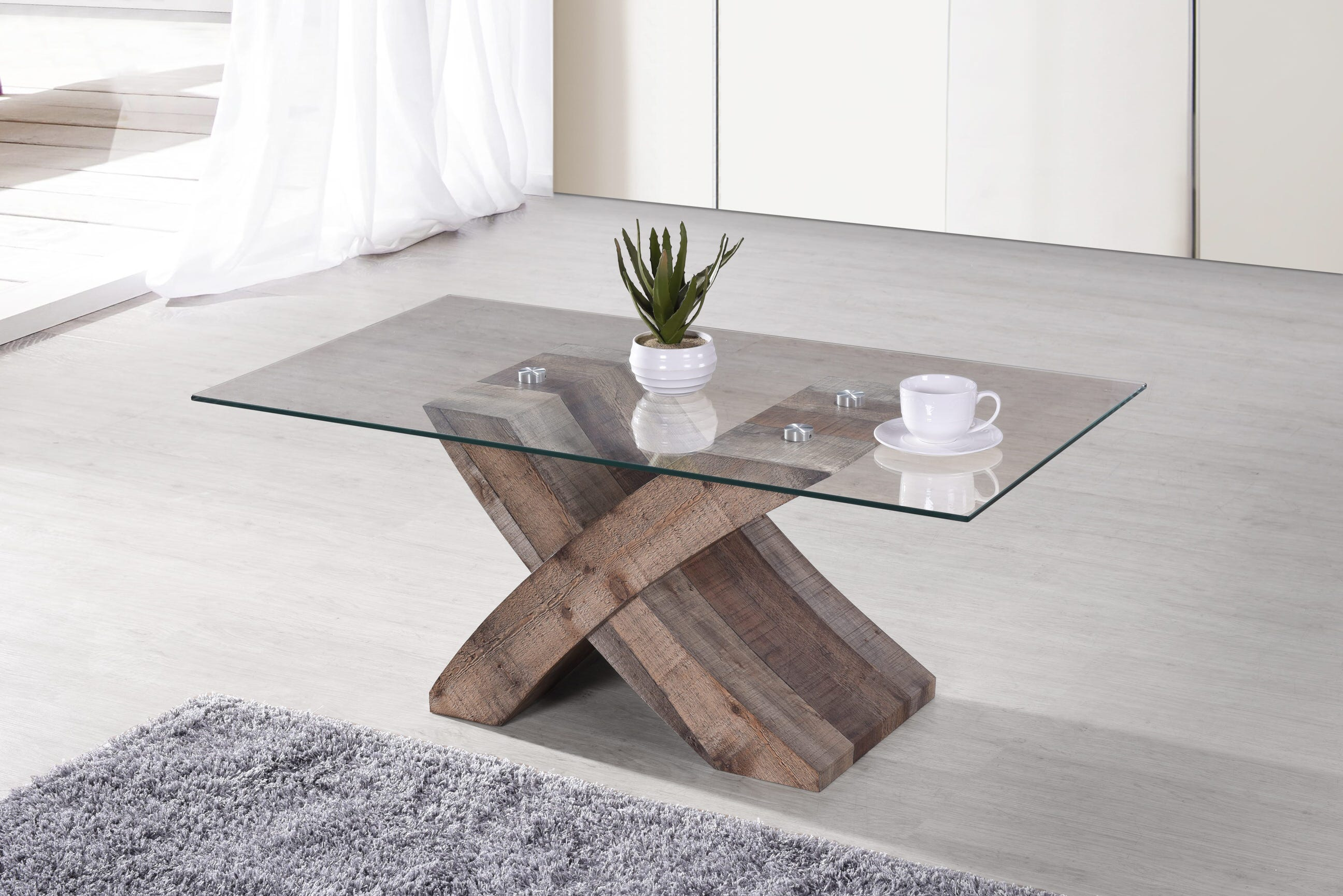 elden rustic brown wood coffee table w tempered glass top by casamode functional furniture