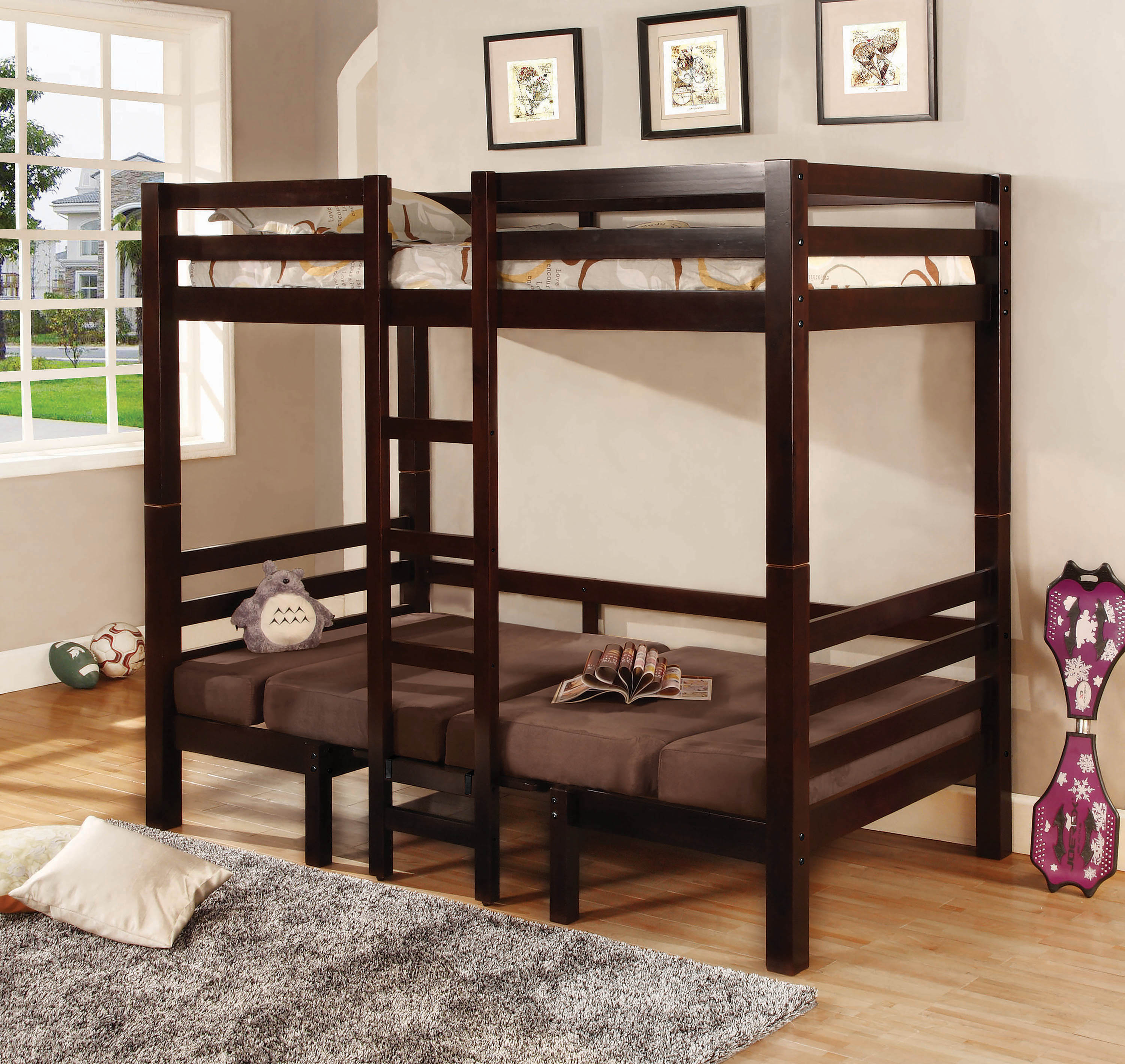 Joaquin Transitional Medium Brown Twin Over Twin Bunk Bed By Coaster