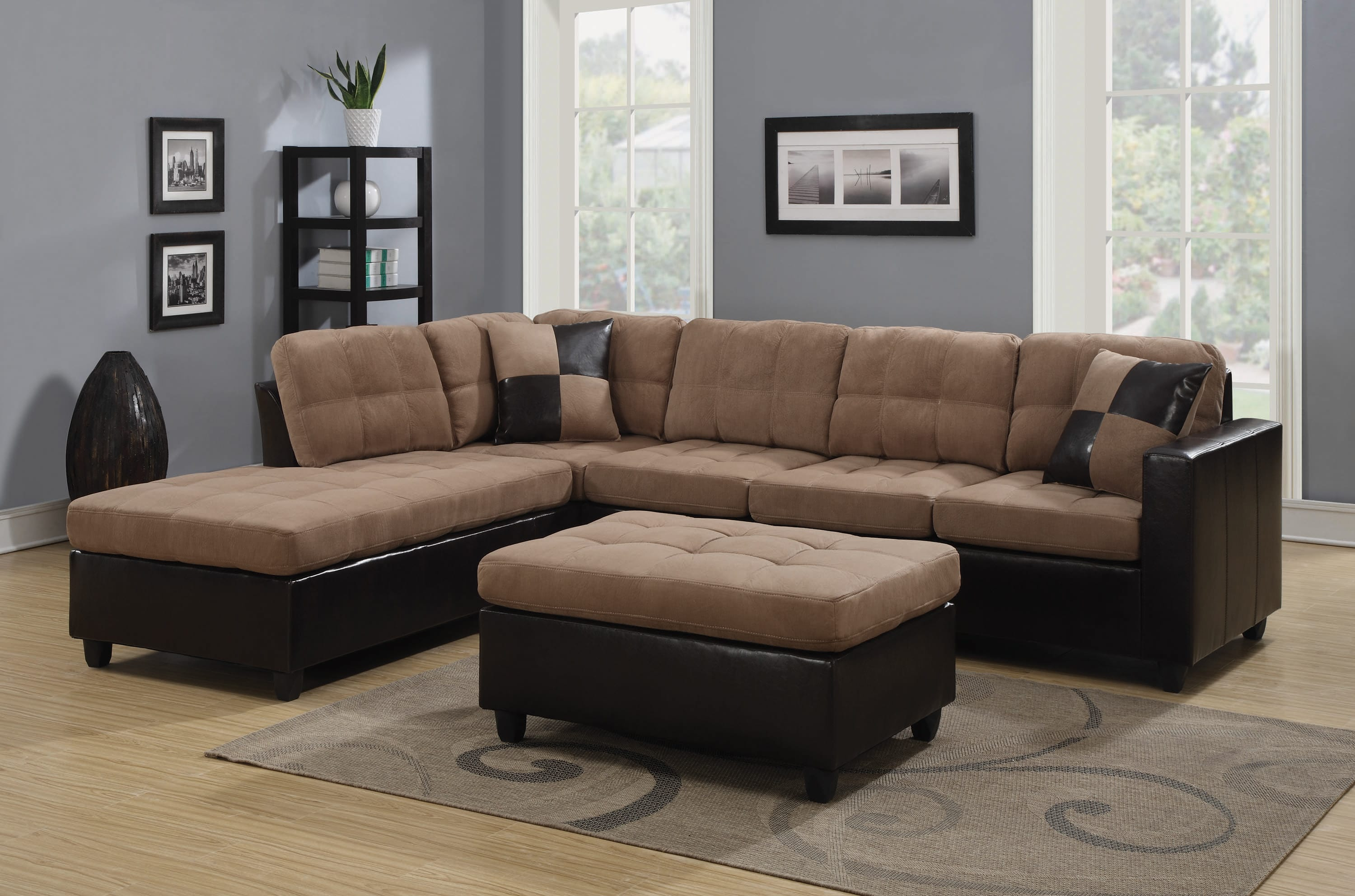 mallory upholstered tan dark brown sectional sofa by coaster fine furniture