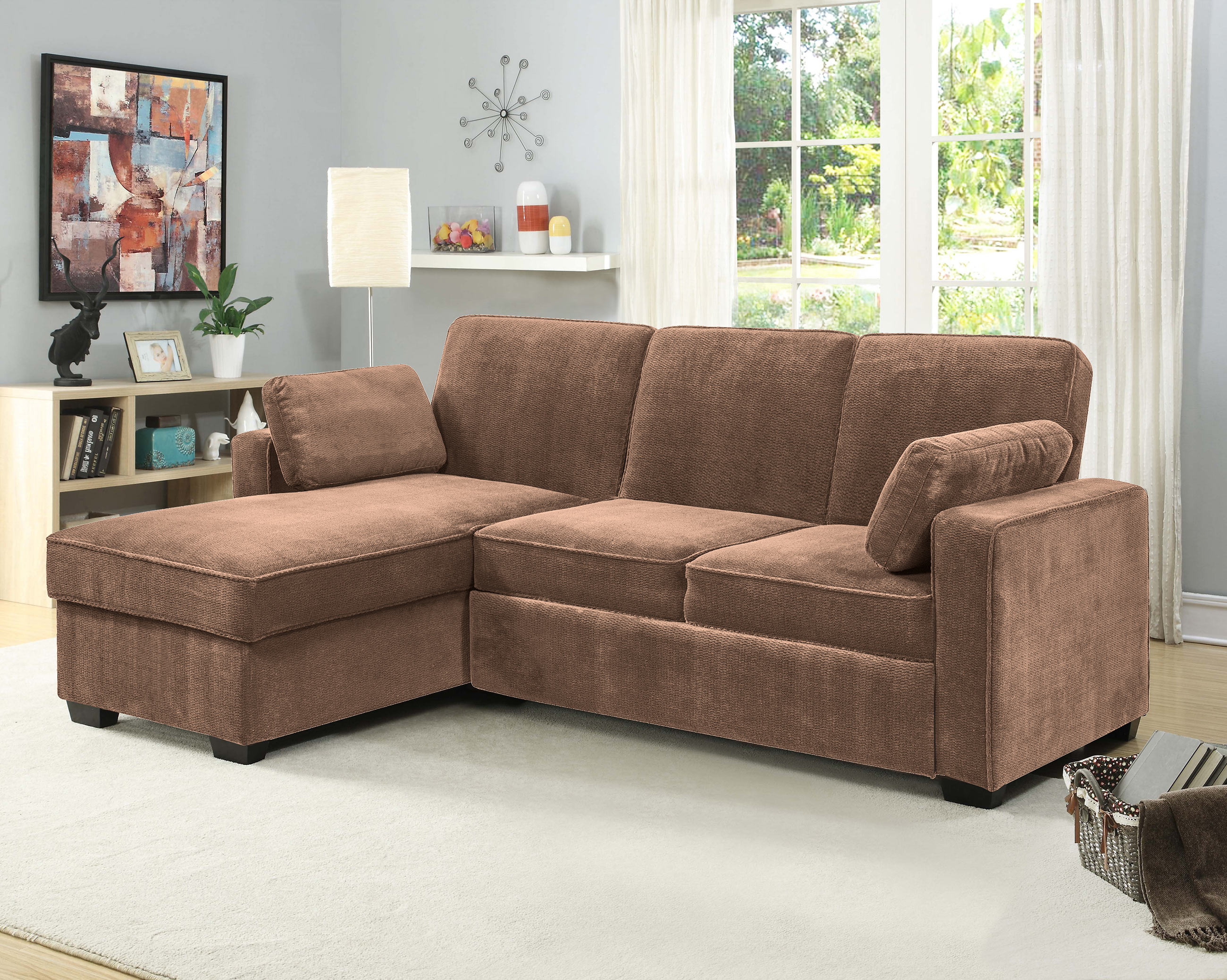 Chaela Sectional Convertible Sofa Light Brown by Serta