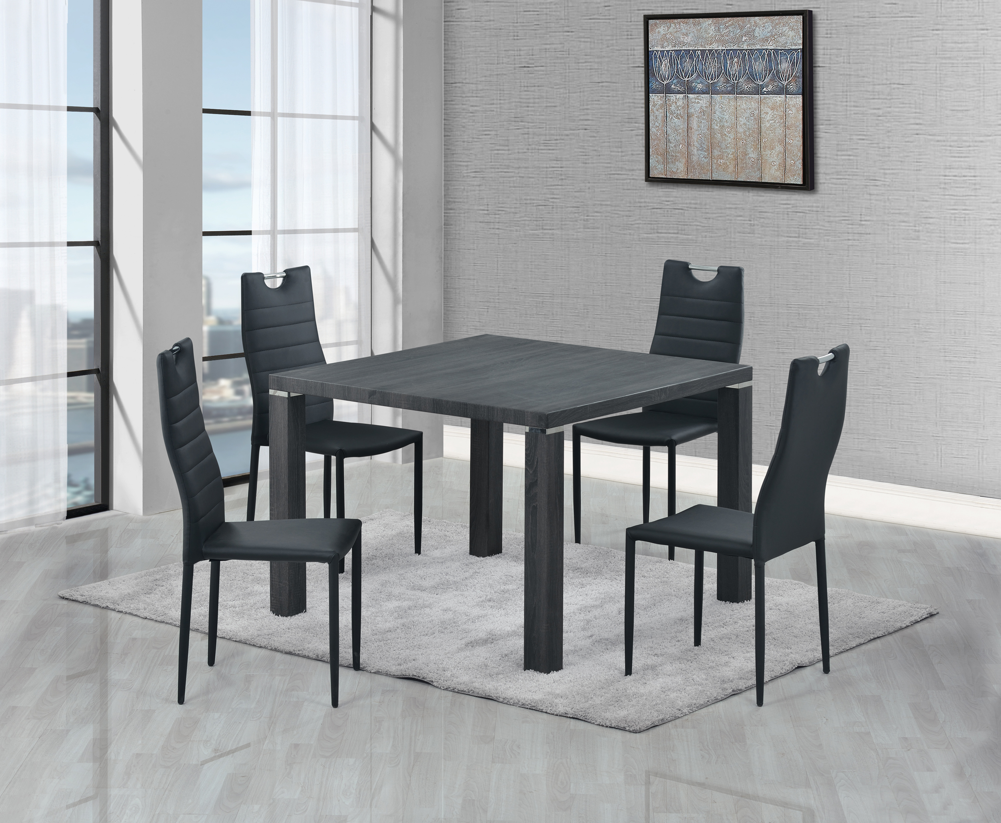 Grey Wood Dining Chairs Dining Table D733dt Grey Wood By Global Furniture